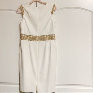 Anne Klein Dresses - Anne Klein Ivory Sleeveless Tan Eyelet Shift 10